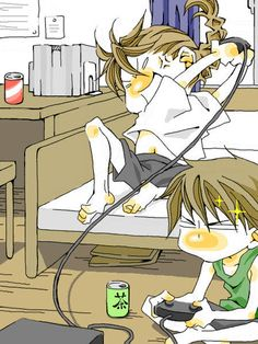 This Is Heero And Me Playing Video Games Notice The Sparkles next to his face he is beating me. And I am like GAH NO! this is a very good Fan Art -giggle-