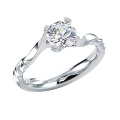 Shapinsay engagement ring by MaeVona: Round brilliant-cut solitaire. Delicate asymmetric ring, with subtle twist details. Named after the Scottish island of Shapinsay