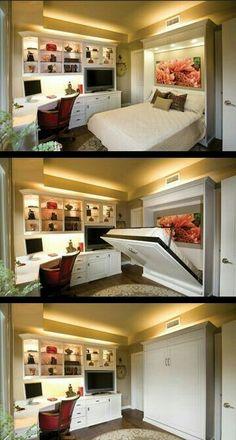 Excelente idea e ideal para una oficina y cuarto de invitados en uno! S