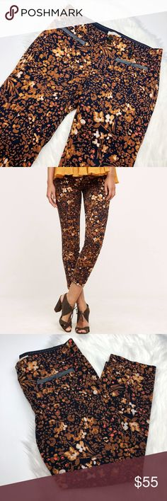 Anthropologie The Essential Slim Floral Pants So cute and perfect for any season! Brown and navy graphic floral with faux leather pocket detail on front. Excellent pre owned condition. Size 4 petite. No trades!! 012517130gwb Anthropologie Pants Ankle & Cropped