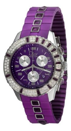 Christian Dior Christal Chronograph Diamond Purple Dial Watch