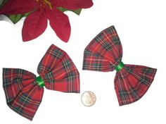 2 Red and Green Plaid Hair Bow, Christmas Hairbow, Fabric Hair Bows, Red Bows $5.50