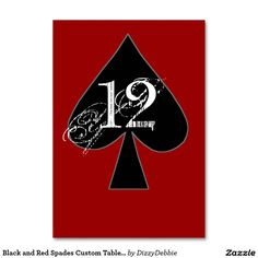 Black and Red Spades Custom Table Number Table Card