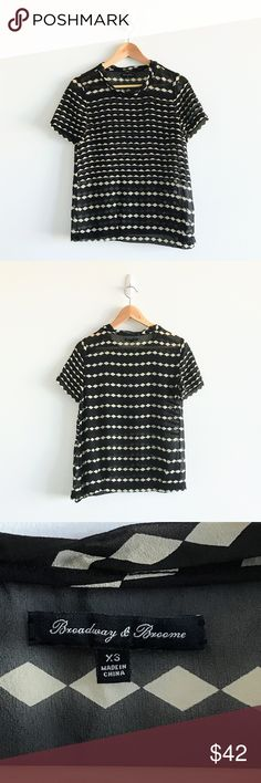 Madewell Broadway & Broome Silk Blouse Black and white stripes with patterns silk blouse. This is made of 100% silk. The blouse is semi sheer. In like new quality 👍 Madewell Tops Blouses