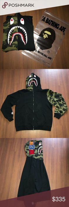 93623956 BAPE HALF GREEN 1ST CAMO SHARK HOODIE No trade. For sale only. Authentic  with