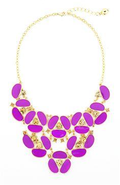 Purple Pansy Bib Necklace - gold tone flower statement necklace by Shamelessly Sparkly $26.90