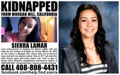 1/17/2013: Sierra LaMar is still missing. Please share: pinned with Pinvolve