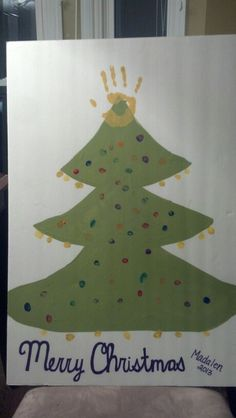 Christmas craft for kids using finger prints as ornaments and hand print as star.