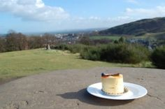 Mango mousse cake (Pâtisserie Jacob) on top of Calton Hill, Edinburgh.
