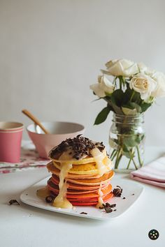 Ombre Ricotta Pancakes with Coconut Cream Cheese Syrup by pepper.ph #Pancakes #Ombre #Coconut