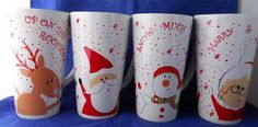 Hallmark Christmas Reindeer Santa Mrs Claus Snowman Set of 4 Coffee Mug | eBay
