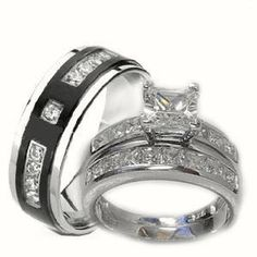 his her 3 piece wedding ring set white gold - Wedding Ring Sets For Bride And Groom