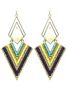 Colored Poncho Bead Earrings from Helen's Jewels