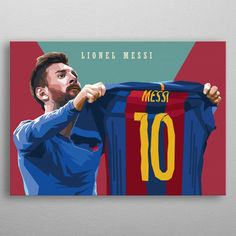 Iconic Cellebration Messi poster by from collection. By buying 1 Displate, you plant 1 tree. Lionel Messi Barcelona, Barcelona Soccer, Fc Barcelona, Real Madrid Soccer, Ronaldo Real Madrid, Soccer Memes, Soccer Quotes, Soccer Tips, Pop Art Posters