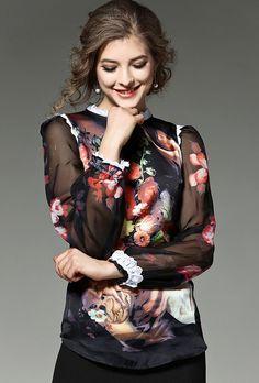 c2b15ea15 GORB 2017 Newest Autumn Europe Fashion Show Women Lantern Sleeve Shirt  Vintage Angel Oil Print Tops Long Sleeves Silk Shirt