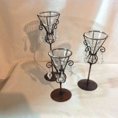 """Set of 3 Glass Candle Holder with Metal Stand and """"Crystals"""" $9.99 BIN $9.84 sh"""