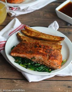 Jamaican Jerk Salmon - Jamaican Jerk Salmon - Paleo, made with jerk homemade seasoning , pineapple glaze and paired with Jerk potatoes Salmon Recipes, Fish Recipes, Seafood Recipes, Healthy Recipes, Seafood Meals, Cooking Recipes, Vegetarian Cooking, Simple Recipes, Meat Recipes