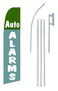 Auto Alarms Flag Swooper Flag and Flagpole Set