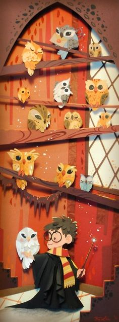 Paper cutout of the owlery at Hogwarts