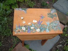 Wooden small table Shabby chic  homemade hand by NewtoUVintage, $38.99