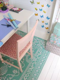 kids room with iron on fabric :)
