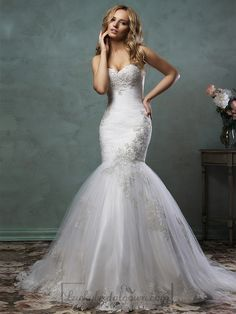 Strapless Sweetheart Embroidered Bodice Mermaid Wedding Dress
