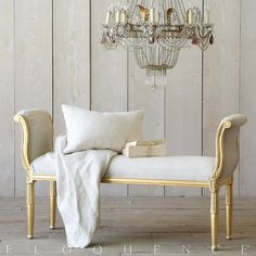 Mademoiselle Bench in Distressed Gold Eloquence® Mademoiselle Bench with sleek hand-carved scrolling sides. Finished in Distressed Gold and upholstered in Fog Linen. French Country Dining, French Country Furniture, French Cottage, French Bed, Country Living, Find Furniture, Home Furniture, Classic Furniture, Luxury Furniture