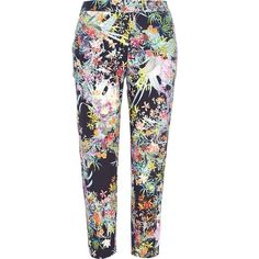 River Island Navy floral print cropped trousers (£20) ❤ liked on Polyvore featuring pants, capris, sale, cigarette pants, flower print pants, river island, cropped capri pants and floral pants