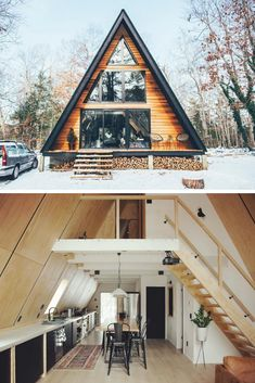 There is something magical about A-frame cabin homes. And today we are going to . - There is something magical about A-frame cabin homes. And today we are going to prove you it! Tiny House Cabin, Tiny House Design, Cabin Homes, Cottage Homes, A Frame House Plans, Small House Plans, House In The Woods, Future House, House Styles
