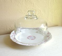 Vintage Dish and Glass Cloche