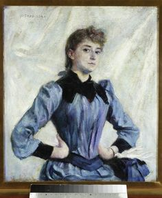 Study of a Blonde, by Władysław Podkowiński (Polish, 1866 - 1890s Fashion, Women's Fashion, Impressionism Art, High Society, Vintage Hairstyles, Historian, Shades Of Blue, Art Inspo, Art History