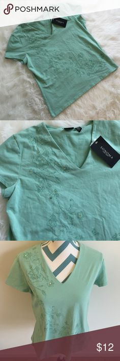 Sonoma Top Brand new mint colored v-neck with floral and sequin detail. Super stretchy and soft. Brand new with tags! Sonoma Tops