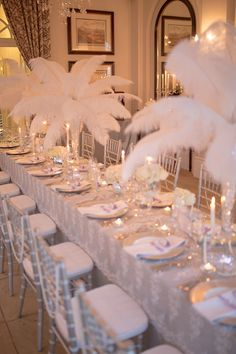 55 Ideas For Wedding Table Decorations Candles Flowers Hydrangeas Great Gatsby Wedding, 1920s Wedding, Wedding Table Decorations, Wedding Centerpieces, Feather Centerpieces, Mirror Centerpiece, Hollywood Wedding, Partys, Event Decor