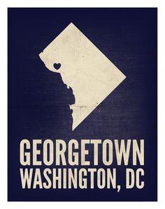 "Georgetown, Washington, DC Love Print, 11"" x 14"""