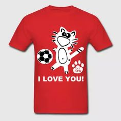 I love you Catpaw Design Party Fun Cat Soccer Cats - Men's T-Shirt