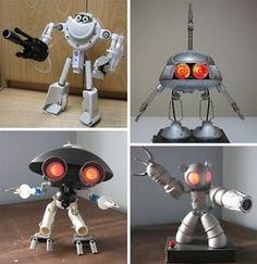 "Recycled-junk-robots-eyes ""Batteries not Included"" Robots I Recycled Art Projects, Recycled Crafts, Robot Animal, Cardboard Recycling, Recycled Robot, Metal Robot, Diy Robot, Steampunk Lamp, Assemblage"