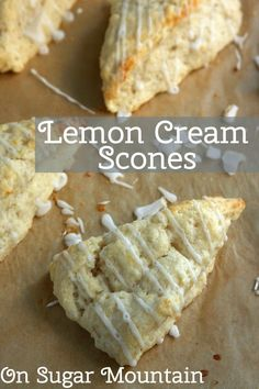 Lemon Cream Scones (recipe) - On Sugar Mountain Easy.uses a stand mixer (baking recipes scones) Mini Desserts, Delicious Desserts, Yummy Food, Lemon Recipes, Baking Recipes, Scone Recipes, Cream Lemon, Cream Scones, Lemon Scones
