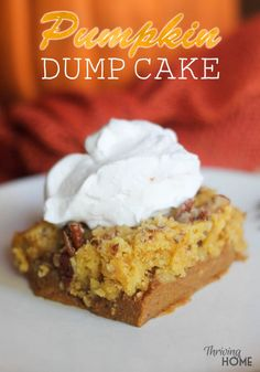 Pumpkin dump cake is by far my favorite fall and winter dessert. This easy to make, crowd-pleaser recipe goes a long away (serves 9-12 people). It is a delicious twist on classic pumpkin pie that almost any age will like. | Thriving Home