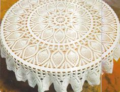 ->Supplies: 12 balls of cotton knit, crochet wool 156 cm in diameter.Sample: 1 row of dc.Explanations:Make a loop with the wire end. round: 12 dc in loop. Crochet Tablecloth Pattern, Crochet Doily Patterns, Crochet Motif, Crochet Doilies, Crochet Wool, Crochet Cross, Thread Crochet, Filet Crochet, Mantel Redondo