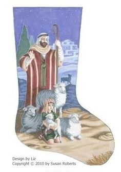 click here to view larger image of Shepherd Stocking (hand painted canvases)
