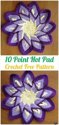 Crochet 10 Point Hot Pad Free Patterns - Crochet Pot Holder Hotpad Free Patterns