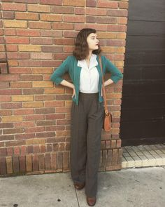 Mod Fashion, Vintage Fashion, Vintage Style, Vintage Inspired, Librarian Style, Vintage Instagram, Soft Gamine, Full Look, Trousers