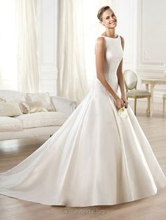 Ball Gown Scoop Satin Sweep Train Buttons Wedding Dresses -GBP£164.59