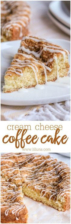 Cream Cheese Coffee Cake - better than your typical coffee cake! This recipe has cream cheese mixed into the cake batter, with a delicious streusel topping! Perfect for breakfast or dessert!