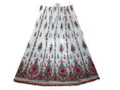 Womens Boho Long Skirt White Dcrapechic Pink Floral Sequin Beaded Bellydance Skirt Mogul Interior, http://www.amazon.com/gp/product/B008H0H8ZU/ref=cm_sw_r_pi_alp_aJToqb1APS5SM