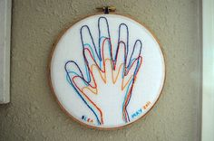 embroidered handprints by Maker Mama, I like the initials and date on this one