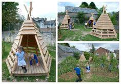 Pallets + logs = Teepee for a Kids Playground #Garden, #Kids, #PalletHut, #PalletPlayhouse, #RecycledPallet