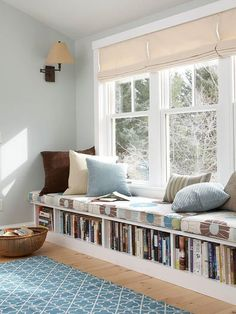 Book Storage Apartments or Small Spaces - love this bookshelf under the window seat! The window seat would make a great reading nook, too, especially with that lamp on the wall above . Interior Design Living Room, Living Room Decor, Bedroom Decor, Bedroom Storage, Bedroom Seating, Bedroom Furniture, Bedroom Benches, Nursery Storage, Closet Storage