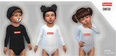 Supreme Onesie for toddler 3 colors Unisex Tag me. Sims 4 Toddler Clothes, Sims 4 Cc Kids Clothing, Toddler Boy Outfits, Toddler Fashion, Kids Outfits, Toddler Stuff, Children Clothing, The Sims 4 Pc, Sims Cc
