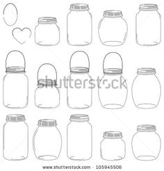 Free Vector Download » Large Set of Hand Drawn Mason Jar Vectors (I would love to make some gift tags with these)